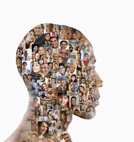 Profile of man with collage of faces