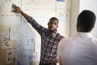 African American businessmen working in office