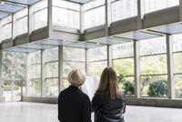 Caucasian businesswomen examining blueprints in office