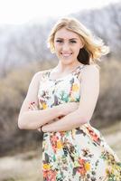 Caucasian teenage girl standing outdoors