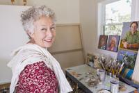 Artist smiling in studio