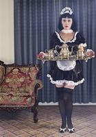Maid serving tea in ornate living room 11018073815| 写真素材・ストックフォト・画像・イラスト素材|アマナイメージズ