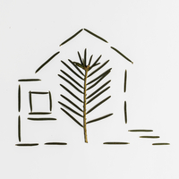 Pine needle and leaf in house shape