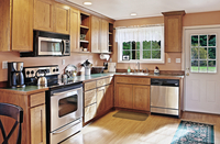 Cabinets and countertops in modern kitchen