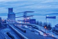 High angle view of Tacoma train station and skyline, Washington, United States