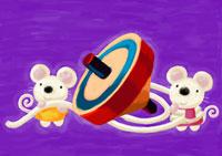 正月イメージ コマとネズミ
