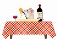 パスタを食べるネズミ
