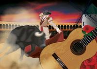 闘牛とギターのイメージ