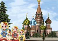 モスクワ風景とマトリョーシカ人形のイメージ