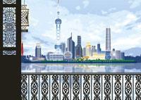 東方明珠塔と浦東新区の上海イメージ