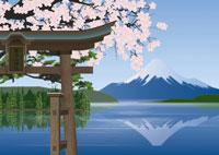富士山と桜と鳥居のイメージ