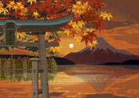 秋の富士山と鳥居のイメージ 11019006122| 写真素材・ストックフォト・画像・イラスト素材|アマナイメージズ