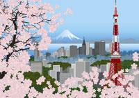桜と東京タワーとビル群のイメージ