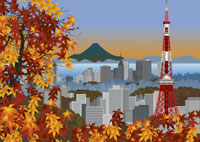 紅葉と東京タワーとビル群のイメージ 11019006124| 写真素材・ストックフォト・画像・イラスト素材|アマナイメージズ