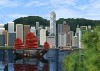 船と香港島イメージ 11019006144| 写真素材・ストックフォト・画像・イラスト素材|アマナイメージズ