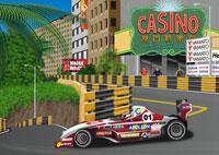 街中を走るレーシングカーイメージ