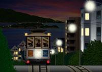 夜のサンフランシスコの街並みとケーブルカーイメージ