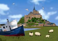 モンサンミッシェルと船イメージ