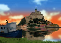夕景のモンサンミッシェルと船イメージ