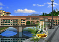 フィレンツェ、ヴェッキオ橋とオリーブオイルイメージ