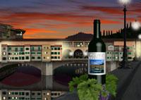 フィレンツェ、夜のヴェッキオ橋とワインイメージ