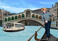 リアルト橋とゴンドラを漕ぐ男性イメージ 11019006172  写真素材・ストックフォト・画像・イラスト素材 アマナイメージズ