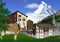 夏のツェルマットの町とマッターホルンと牛イメージ