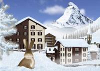 冬のツェルマットの町とマッターホルンとウサギイメージ 11019006182| 写真素材・ストックフォト・画像・イラスト素材|アマナイメージズ