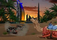 ドバイの街とラクダイメージ
