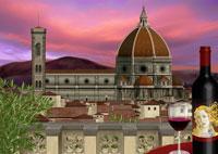 夕景のドゥオモとワインイメージ 11019006195| 写真素材・ストックフォト・画像・イラスト素材|アマナイメージズ