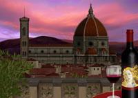 夕景のドゥオモとワインイメージ