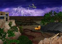 嵐のグランドキャニオンを飛ぶセスナ機とコンドルイメージ