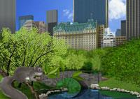 春のセントラルパークとリスイメージ