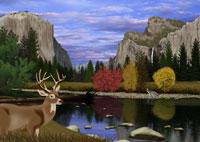 秋のヨセミテ国立公園の風景とシカイメージ 11019006215| 写真素材・ストックフォト・画像・イラスト素材|アマナイメージズ