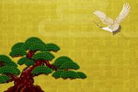 松と飛ぶ鶴 イラスト