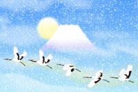 富士山と鶴 イラスト