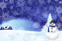 雪だるまと雪景色