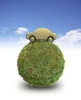 CG 苔玉と木製の車