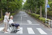 横断歩道を渡るシニア夫婦と孫