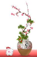 うさぎの絵柄の花瓶と梅の花 イラスト