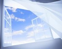 風で揺れるカーテン CG
