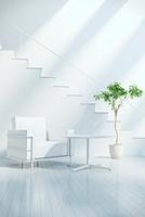 リビングルームに置かれた家具と階段 CG 11019024997| 写真素材・ストックフォト・画像・イラスト素材|アマナイメージズ