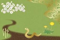 ヘビと春の道 イラスト