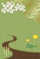 春の道 イラスト
