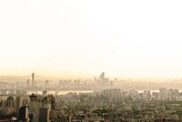 南山から見た麻浦・ヨイド方面の街並み ソウル