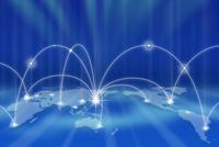 世界地図とネットワークメージ CG