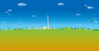 青空と雲と気球の浮かぶ東京スカイツリーと街並み イラスト