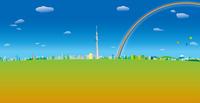 青空と雲と虹と気球の浮かぶ東京スカイツリーと街並み イラスト
