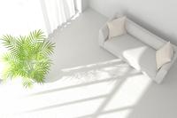 白いソファと観葉植物が置かれたリビングルーム CG 11019031764| 写真素材・ストックフォト・画像・イラスト素材|アマナイメージズ