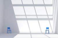 青い椅子が置かれた白い部屋 CG 11019031784| 写真素材・ストックフォト・画像・イラスト素材|アマナイメージズ